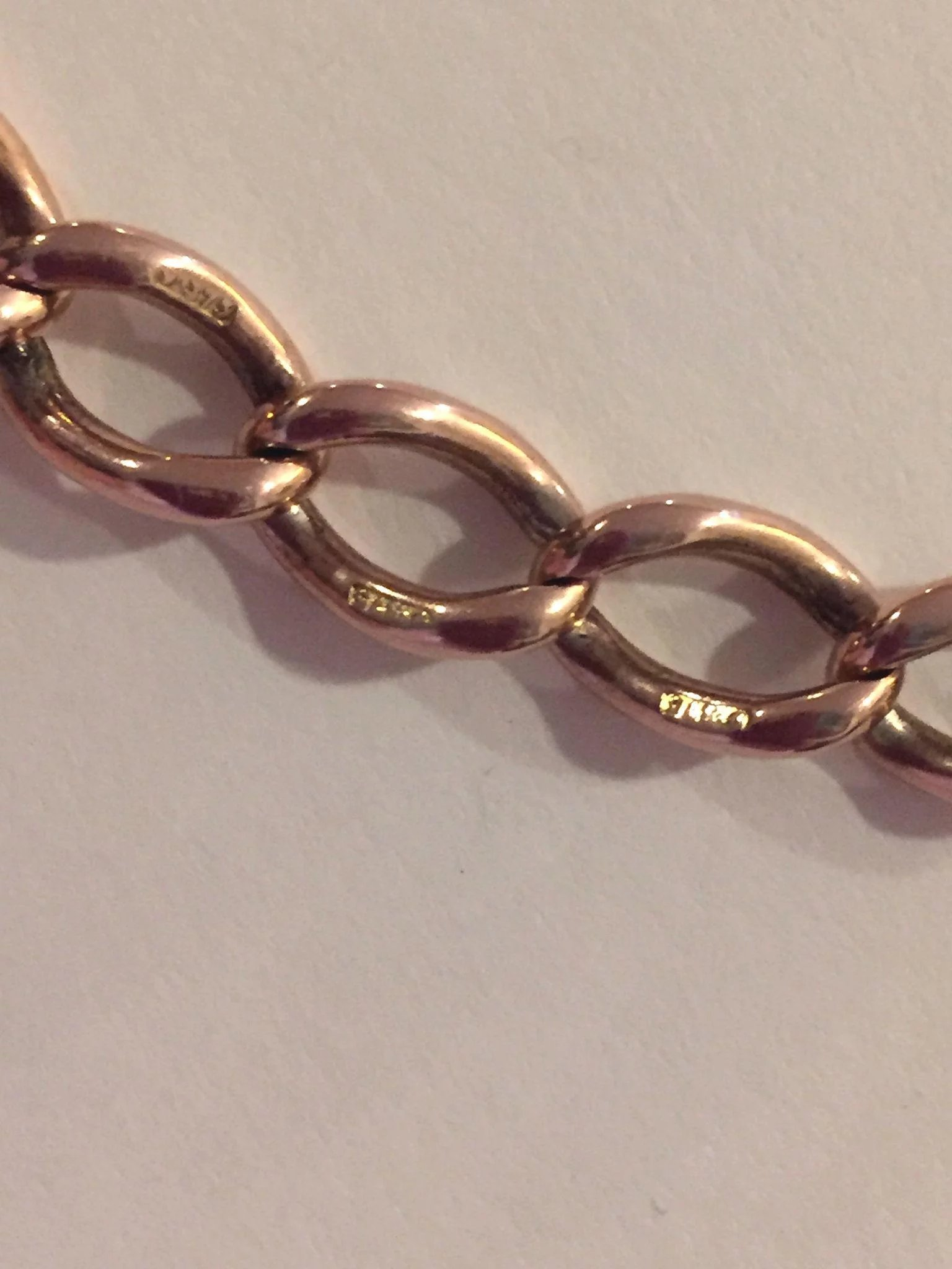 Antique Victorian 9k 375 Rose Gold Charm English Bracelet