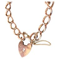Antique Victorian 9K .375 Rose Gold Charm English Bracelet with Gold Filled Heart Padlock Closure