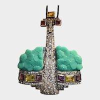 Art Deco Sterling Paste France Anchor Pendant Peking Glass