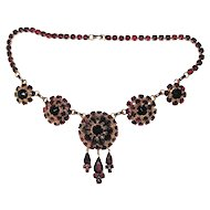 Wonderful Bergere Necklace and Bracelet Faux Garnets
