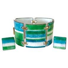 Kay Denning Striking Blue Green Enamel Bracelet and Earrings