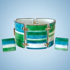 Kay Denning Striking Blue Green Enamel Bracelet and Earrings