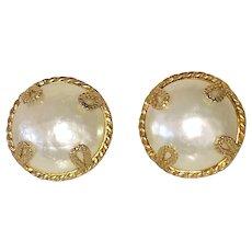 Dominique Aurientis Huge Faux Pearl Earrings