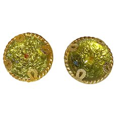 Dominique Aurientis Huge Celadon Gripoix Poured Glass Earrings