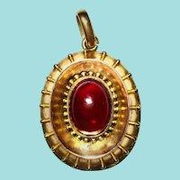 Antique Etruscan Revival Locket Victorian Cabochon Garnet