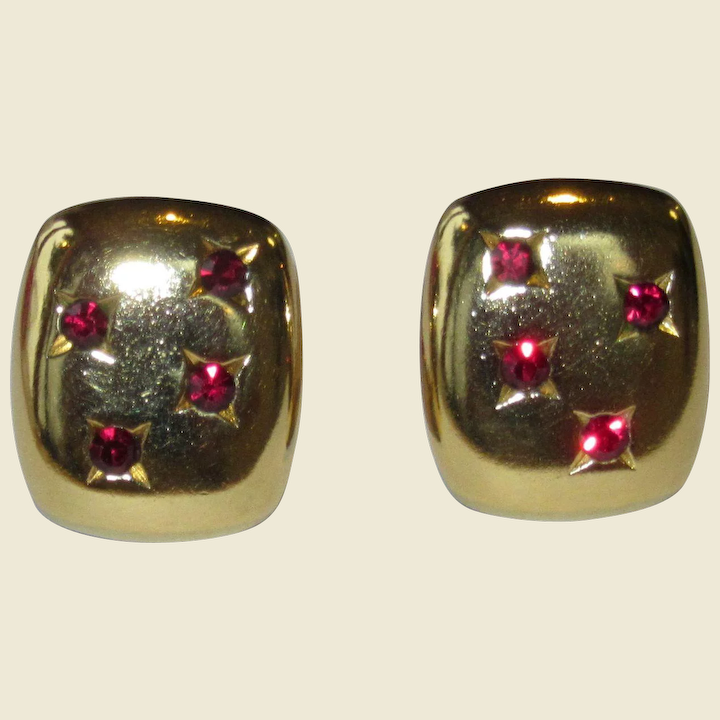 4250c7ce7a1 Yves Saint Laurent Red and Goldtone Vintage Clip Earrings : Alison Phalan  Antiques   Ruby Lane