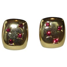 Yves Saint Laurent Red and Goldtone Vintage Clip Earrings