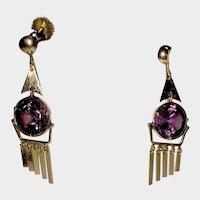 Antique Screw top Vintage14K Rose Gold Dangle Earrings Synthetic Alexandrite