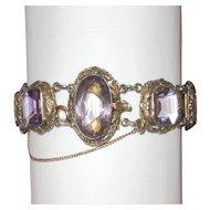 Victorian Gilt Silver Large Amethyst Link Bracelet