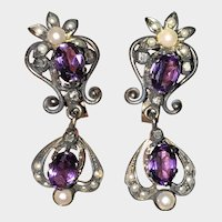 Vintage Beautiful Silver Topped Gold Amethyst Rose Cut Diamonds Earrings