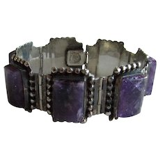Mexican Sterling Amethyst Chunky Bracelet Vintage