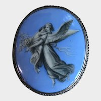 Guardian Angel Grisaille Painted Porcelain Large Brooch