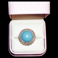 Victorian Gold and Turquoise Glass Pate de Verre Pearl Ring