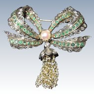 Antique Diamond Emerald Bow Brooch Circa 1800s