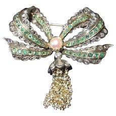 Antique Diamond Emerald Bow Brooch Circa 1800s