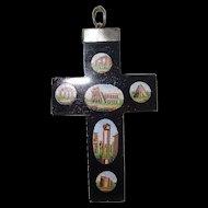 Beautiful Victorian Micro Mosaic Cross Italian Ruins