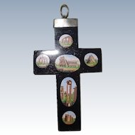 Beautiful Victorian Micro Mosaic Cross Italian Ruins