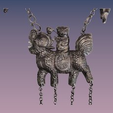 Antique Qilin Kylin Chinese Amulet Necklace Large