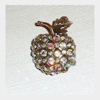 Rhinestone Apple For The Teacher? Brooch