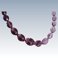 Vintage Pressed Glass Beads Necklace Purple