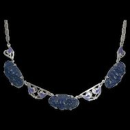 Art Deco Molded Blue Glass and Enamel Necklace