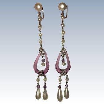 Art Deco Purple Glass Faux Pearls Earrings