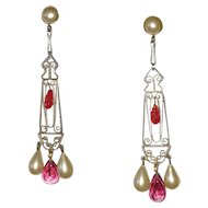 Vintage Art Deco Red Glass and Faux Pearl Earrings