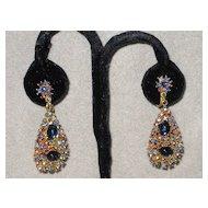 Colorful Vintage ART Clip Earrings Drops