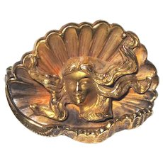 Art Nouveau Gold Plated Lady In Sea Shell Brooch