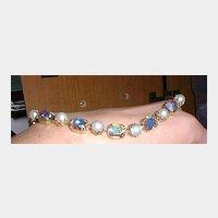 Aurora Borealis Crystal and Faux Pearl Choker