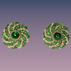Austro Hungarian Earrings Cultured Seed Pearls Clip