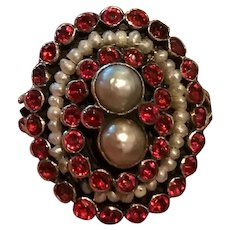 Austro-Hungarian Silver Red Stone Cultured Pearls Cluster Ring