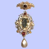 Beautiful Ornate Austro-Hungarian Pendant Brooch