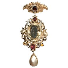 Beautiful Ornate Austro-Hungarian Pendant Brooch