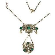 Austro Hungarian Pendant Green Glass Stones Cultured Pearls (Restored)