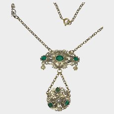 Austro Hungarian Pendant Green Glass Stones Cultured Pearls (Restored)