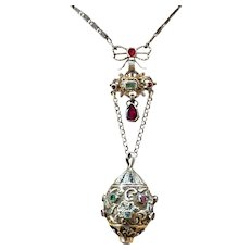Austro Hungarian Pendant Green and Ref Stones Cultured Pearl