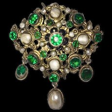 Austro Hungarian Brooch Pendant Green Stones Cultured Pearls