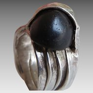 Mid Century Modern Silver Ebony Ring France