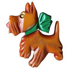 Large Scotty Dog Bakelite Brooch Butterscotch