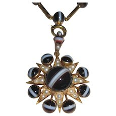Victorian Banded Agate 18K Gold Cultured Pearls Necklace Pendant