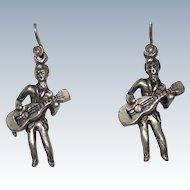 Vintage Guitar Man Earrings Beatles 1960s
