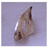 Vintage Sterling Beau Leaf Brooch