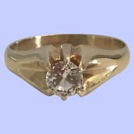 10K Rose Gold Etched Heavy Large Victorian Belcher Ring White Stone