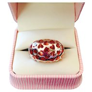 Be Mine! Pretty Pink Lucite Sterling Hearts Cutout Dome Ring