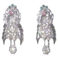 Pair Vintage Sterling Peacock Bird Fur or Dress Clips