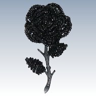 Vintage Wired Beaded Black Rose Brooch