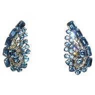 Giant Gorgeous Vintage Rhinestone Earrings Clips