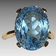 Blue Topaz Estate 14K Ring