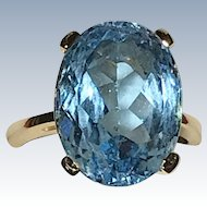 Blue Topaz Estate 14K Ring
